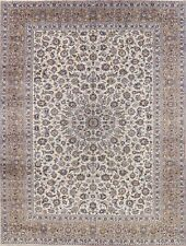 Vintage 10x13 Sage Green Kashaan Area Rug Hand-Knotted Living Room Wool Carpet