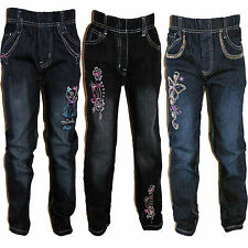 Mädchen Kinder Jeans Hose blau oder schwarz Grösse 98 bis 158 super bequem