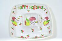 Vintage MCM Pink Angel Christmas Chip N' Dip Serving Tray Green Plastic Kitsch