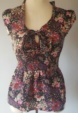 H&M Women's Top Black Red Size 12 100% Cotton Floral Elasticated Bow VGC