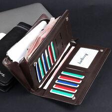 Casual Men's Leather ID Card Holder Zip Wallet Purse Clutch Checkbook Billfold