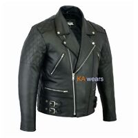 Mens Classic Leather Brando Jacket Biker Motorbike Motorcycle Vintage Perfecto