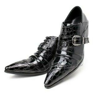 Men's Pointy Toe Block Low Heels Shoes Buckle Oxfords Retro Dress Brogues Shoes