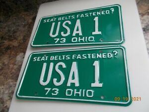 1973 Ohio License Plate Pair USA 1, Lightly Used 1973 CHEVY OWNERS HERE IT IS!!