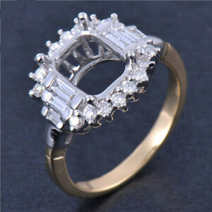 Cushion 7x7mm Natural Bagutte Diamond  Ring Setting Solid 14K Two Tone Gold