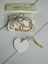 Wooden White Heart Gift Tags with Jute x 8 Embellishments Decoration Craft