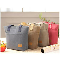 Portable Cotton Linen Insulated Thermal Cooler Bento Lunch Tote Storage Bag shan