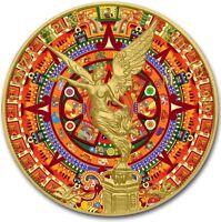2018 1 Oz Silver MEXICAN AZTEC CALENDAR LIBERTAD Coin WITH 24K GOLD.