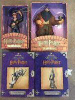 4 Harry Potter Ornaments -  2 Hallmark Pewter  + 2 Warner Brothers Ornaments