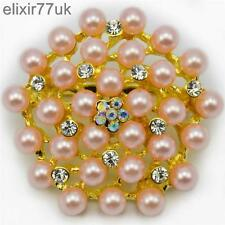 GOLD PLATED FLOWER PINK PEARL BROOCH DIAMANTE CRYSTAL WEDDING BRIDAL BROACH GIFT