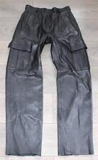 Vintage Black Leather Pockets Biker Motorcycle Trousers Pants Jeans Size W29 L32