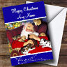 Sleeping Santa And Dogs Christmas Greetings Card Personalised