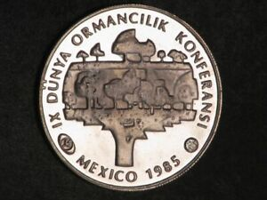 TURKEY 1985 5000 Lira Forestry Conference Silver Crown Proof - Mtg=3088