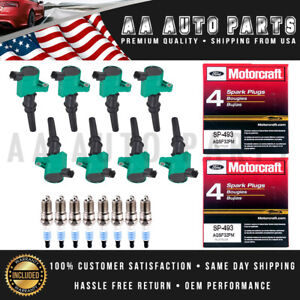 Motorcraft Spark Plug SP493 & DG508 Green Ignition Coil 8PCS For Ford Explorer