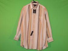Claiborne Mens Size 16 1/2 - 32 / 33 Large Tan Striped Wrinkle Free Shirt NEW