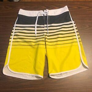 Mossimo Men's Board Shorts - Size 32 - Yellow/Black/White striped Pattern - 0401