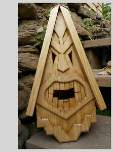 """Unique Tiki Bird House Rustic Hand Carved  Face Wood Spirit 16"""""""
