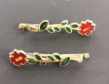 Vintage Hair Pins - Pair of Red Flower Bobby Pins