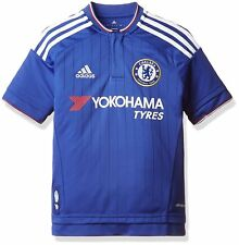 adidas Boys Chelsea FC Kids Football Jersey Blue White T Shirt Tee Top Size10-16