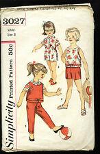 1963 Simplicity #3027 size 3 Girls summer Top Blouse & Pants in 2 lengths SCARCE