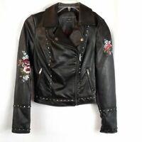 Aeropostale Leather Embroidered Studded Moto, Black, Size XS
