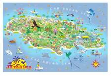 JAMAICA Beautiful, detailed contemporary illustrated map, limited edition of 150