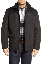 Bugatchi Men's Leather Trim Quilted Coat Jacket XL $408