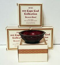 4 Each Avon 1876 Cape Cod Collection Ruby Red Glass Dessert Bowls New In Boxes