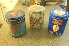 3 Planters Mr Peanut Mixed Nuts and Peanut Vintage Collectible Tins