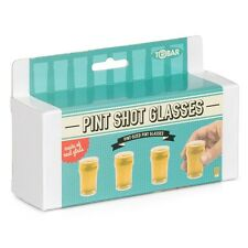 PINT SHOT GLASSES - SET OF FOUR NOVELTY FUN DRINKING GAME REAL GLASS 25ML 27466