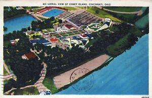 Aerial View Of Coney Island Cincinnati Ohio Posted Vintage Linen Post Card
