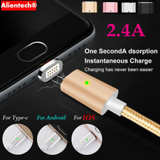 2.4A Magnetic LED Micro USB Type C Fast Charger Cable For iPhone 7 6S 5 Android