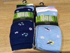 Ladies sustainable bamboo Socks 3 pack shoe 4-7 blue pink cream grey