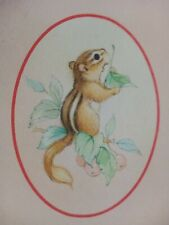 NOS Vintage Hallmark Chipmunk Pink Stationery Letter Envelope Set New Old Stock