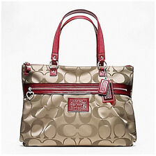 NWT COACH Daisy Signature Sateen Tote Bag 20026 - Khaki/Red