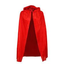 Boys Girls Hooded Red Velvet Cape Cloak Kids Fancy Dress World Book Day Costume