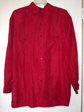 1990s vintage red silk grunge button down shirt top blouse size medium large