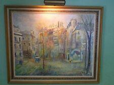 Post-Pointillism Seurat inspired Cityscape,P.Barton signed Original w/light 1960