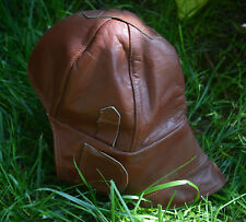 Vintage leather pilot hat WW II, Antique motorcycle helmet, Leather aviator hat