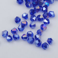100pcs blue ab exquisite Glass Crystal 4mm #5301 Bicone Beads loose beads;