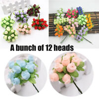 Decoration  Fake Simulated Rose  Artificial Flower Handmade Mini Silk Bouquet