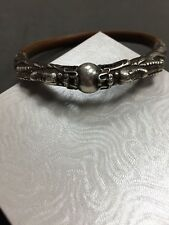 VINTAGE STERLING SILVER BAMBOO WOOD CHINESE TWIN DRAGON BANGLE BRACELET