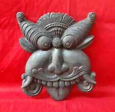 Vintage Wooden Wall Hanging Yali Temple Art Handcrafted Sculpture Figure Statue