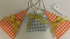Alberelli di Natale e pacchetto regalo 3 decorazioni natalizie arancione celeste