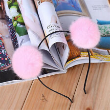 1Pcs Cute Fur Ball Pink Furry Ears Womens Headband Hair band Head Accessory