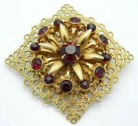 Red Rhinestone Gold Tone Floral Filigree Pin Brooch Vintage