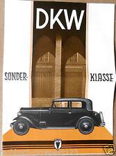 DKW SONDERKLASSE  PROSPEKT 1932 VIERZYLINDER CABRIO VORKRIEG SAMMLER OLDTIMER