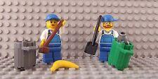 2 LEGO NUOVISSIMO MINI FIGURE Workman LADY Pattumiera Spazzatura da collezione city road