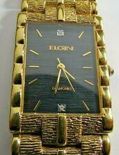 VINTAGE MENS ELGIN QUARTZ WATCH GOLD TONE BRACELET BLACK DIAL WITH DIAMOND RUN
