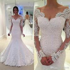 2017 Long Sleeve Mermaid White/Ivory Lace Wedding Dress Bridal Gown Custom Size
